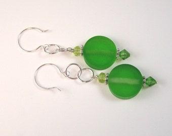 Green Coin Earrings