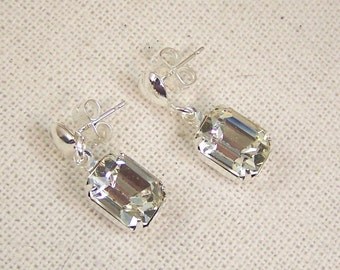 Vintage Crystal and Heart Stud Earrings