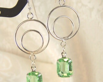 Tiny Bubbles and Vintage Peridot Glass Earrings