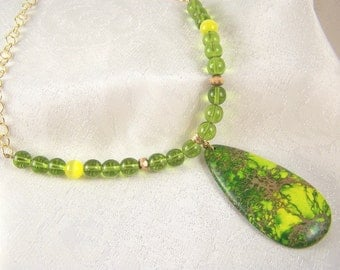 OOAK Grassy Sea Sediment Jasper Necklace