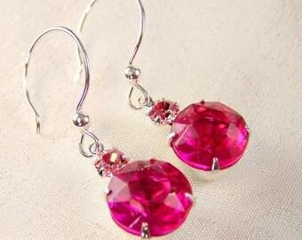 Deep Pink Vintage Glass and Rhinestone Earrings