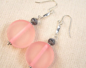 Pink Resin Disc Earrings