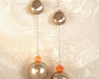 Light Brown Pearls and Crystals Earrings