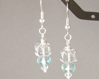Crystal Lanterns and Aqua Blue Earrings