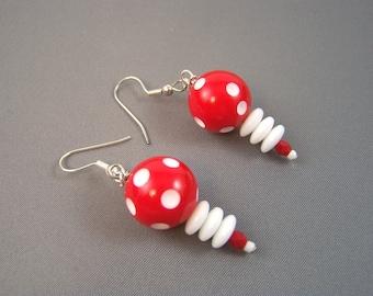 Retro Red Earrings