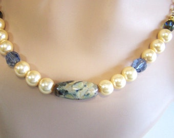 Pearls and Sand and Indigo Necklace and Earrings Set