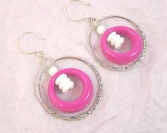 Raspberry Circles Earrings