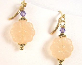 Milk Glass and Crystal Earrings