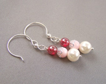 Cranberry, Pink and Pearl Earrings