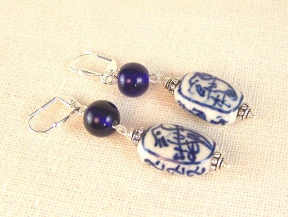 Blue Bird Porcelain Bead Earrings