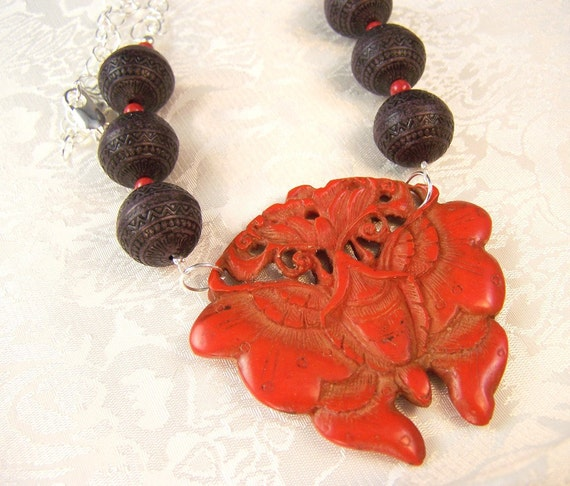Cinnabar Butterfly and Coral Necklace