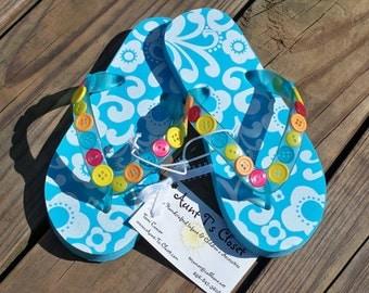 Flip Flops for Girls - Teal Damask with buttons - size 13/1 - Etsykids