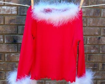Maribou Fur Trimmed Red T-Shirt- Size 4T