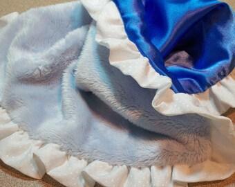 Blue Minky Blanky Chenille and Blue Satin Silky/Lovey Etsykids