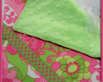 Pink Mod Flower and Green Minky Chenille with Satin Silky/Lovey