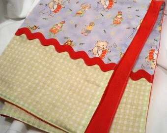 Baby Boy Blanket - Blue Animals Marching with Red Pique