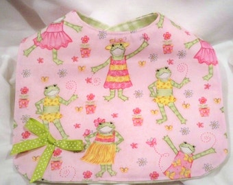 Reversible Bib for Girls - Pink Fashion Frogs & Green Check