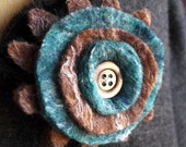 Brown and Teal Felt Button Corsage