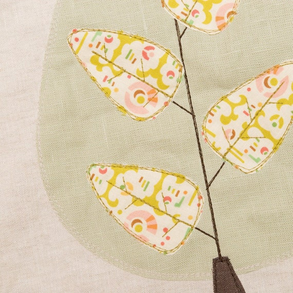 Natural Linen Tote Bag, with embroidered tree and leaves