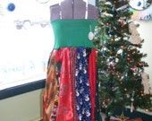 Long Christmas Tie Skirt or Tie Dress for Holidays