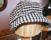 Houndstooth upcycled newspaper boy hat