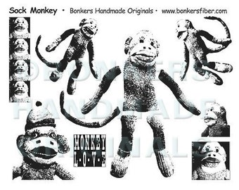 Sock Monkey Rubber Stamp Sheet