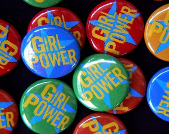 Girl Power Pin-Back Button or Magnet, 1""