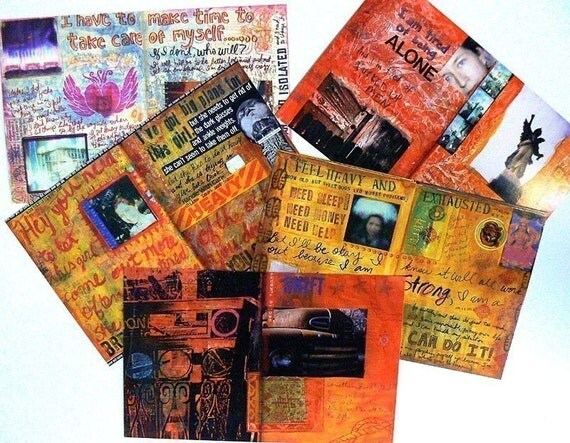 Set of Oversized Postcards of Traci Bunkers Visual Journal Pages (set 1)