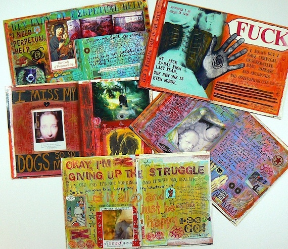 Set of Oversized Postcards of Traci Bunkers Visual Journal Pages (set 5)