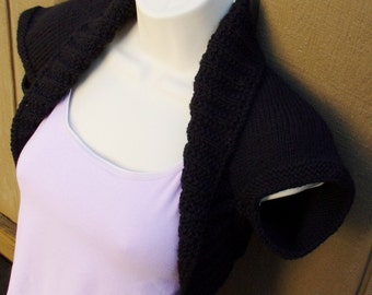 Black Licorice Knit Shrug, Size:Small  black bolero shrug knitted vest sweater wedding bridal evening prom cover-up