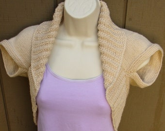 Mocha Cream Knit Shrug-Small  tan brown bolero shrug knitted vest sweater wedding bridal evening prom cover-up