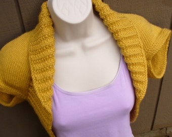 Mustard Yellow Knit Shrug-X-Large  mustard yellow bolero shrug knitted vest sweater wedding bridal evening prom cover-up