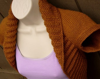 Honey Brown Knit Shrug. size Small brown honey shrug vest bolero sweater wedding bridal prom formal evening