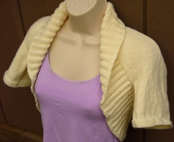 Ivory Knit Shrug with short sleeves-Large  bolero shrug vest sweater prom wedding bridal cover-up formal evening