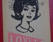 LOVE GIRL gocco print by Gemma Jones