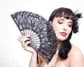 Lady Loves Lace Fan by Samantha Sultana - Black,Courtier,Gothic,Victorian,Spanish,Burlesque,Steam Punk,Cocktail,Bridal,Wild West Fan,Fetish