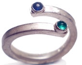 Blue Sapphire and Green Emerald sterling Silver ring with cabochons