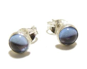 Swiss Blue Topaz Sterling Silver Stud Earrings Sterling Silver with Genuine Gemstones, 5 mm