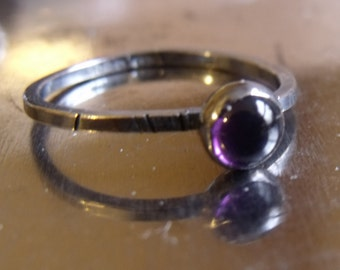 MIni sterling silver Amethyst cabochon stacking ring 6mm - oxidised silver ring, amethyst stacker black silver and purple amethyst jewellery