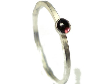 MIni sterling silver Garnet cabochon stacking ring - garnet stacking ring - red garnet cabochon stacker