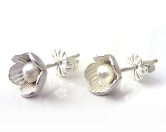 flower Ear studs in sterling silver - Bridal Jewelry, small flower earrings - jewellery for girls