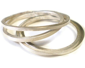 MINE - sterling silver thin stacking rings - set of 4 mini rings