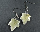 White and green ivy leaf earrings
