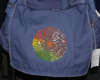 Messenger Bag embroidered with Wheel of the Year