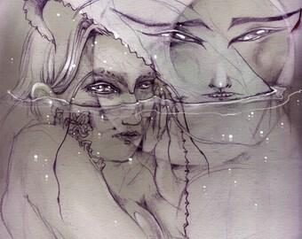 Mermaid Moon - Faerie / Magical / Fantasy Art Print