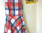 RESERVED: Women's Plaid Red, White, Yellow, and Blue Vintage Dress
