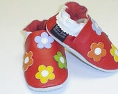 NEW soft sole leather BABY crib shoes red with  flowers