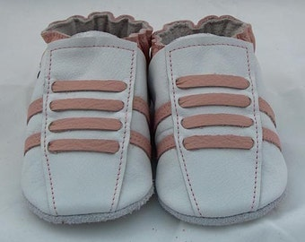 Soft sole leather BABY crib shoes white pink running
