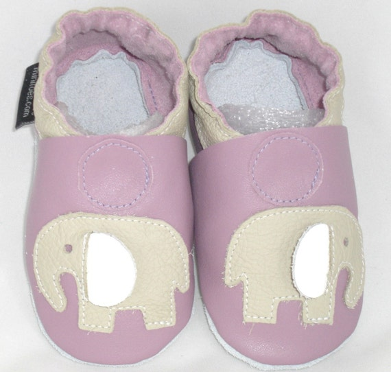 mini toes soft sole leather baby crib shoes lilac elephants