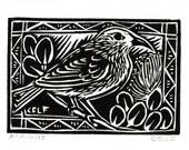 Apapane- Hawaiian forest bird original block print